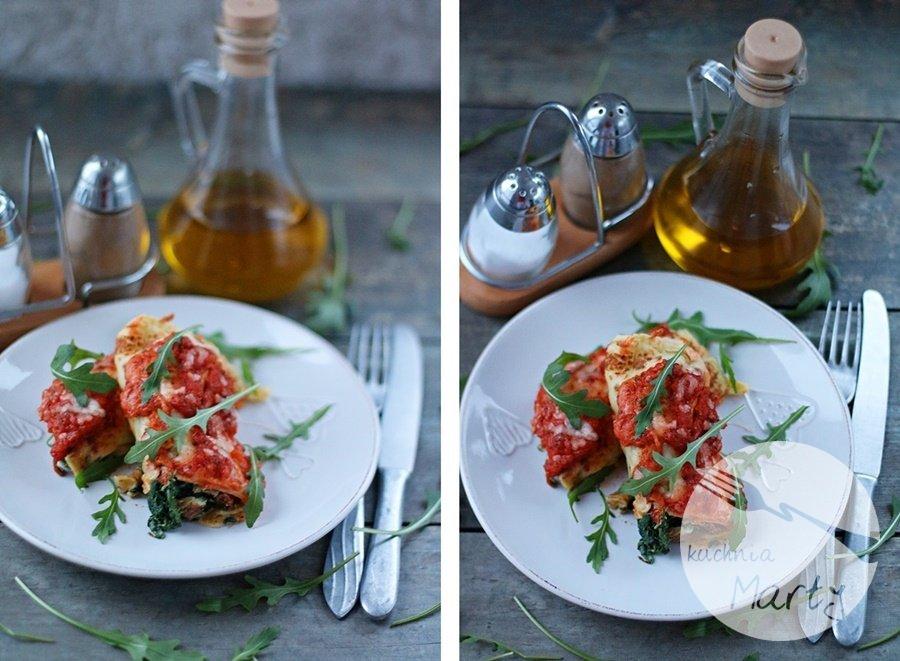 5536 horz - Naleśniki ze szpinakiem i ricottą zapiekane w sosie pomidorowym i mozzarelli