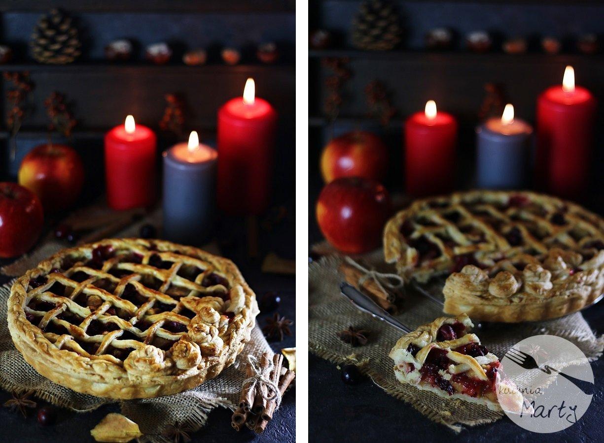 5228 horz1111 - Korzenna tarta z jabłkami i żurawiną