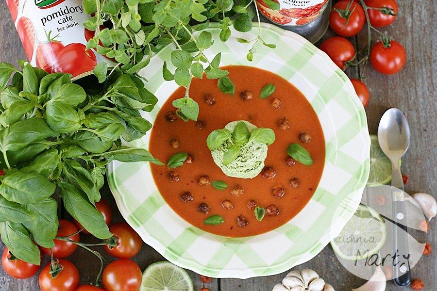 7959.900 - Krem z pomidorów z imbirem i bazyliowymi lodami