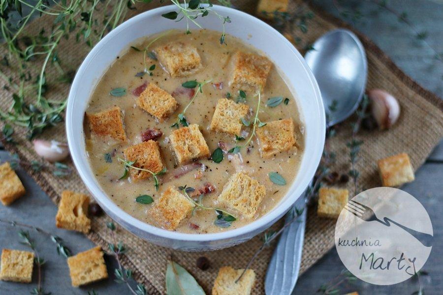 Zupa ziemniaczano porowa z boczkiem
