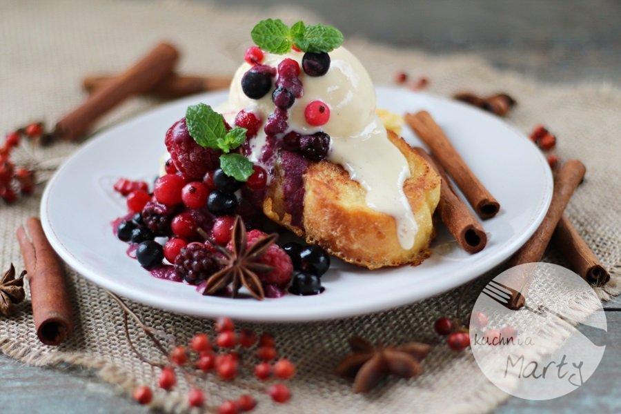 6256.900 - Tosty francuskie z sosem z owoców leśnych i lodami jogurtowymi