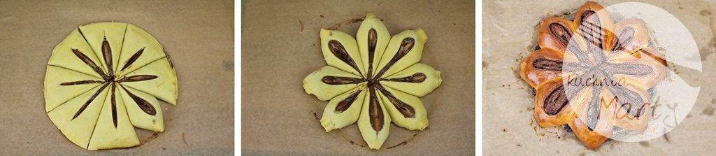 8359 horz - Drożdżowy kwiatek z kremem orzechowym