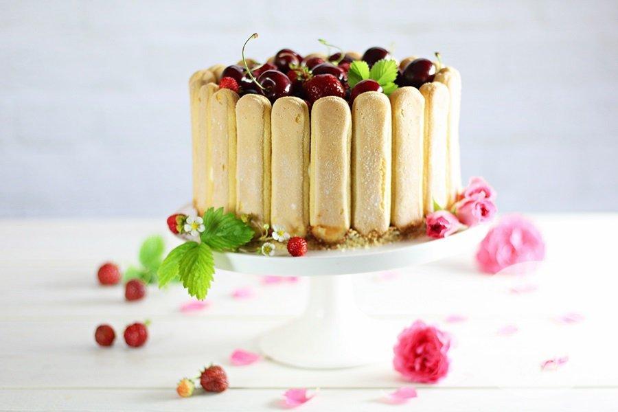 6829 - Charlotte z truskawkowym musem i kremem z białej czekolady